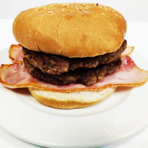 Hamburguesa de ternera sola doble con bacón